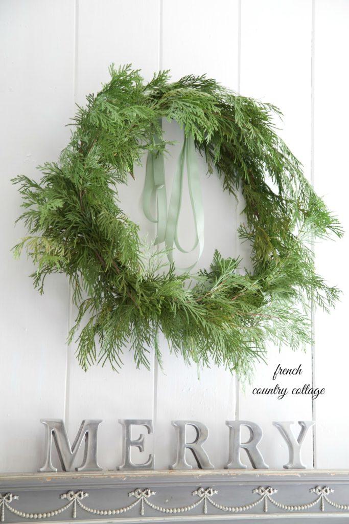 french country cottage DIY cedar branch wreath