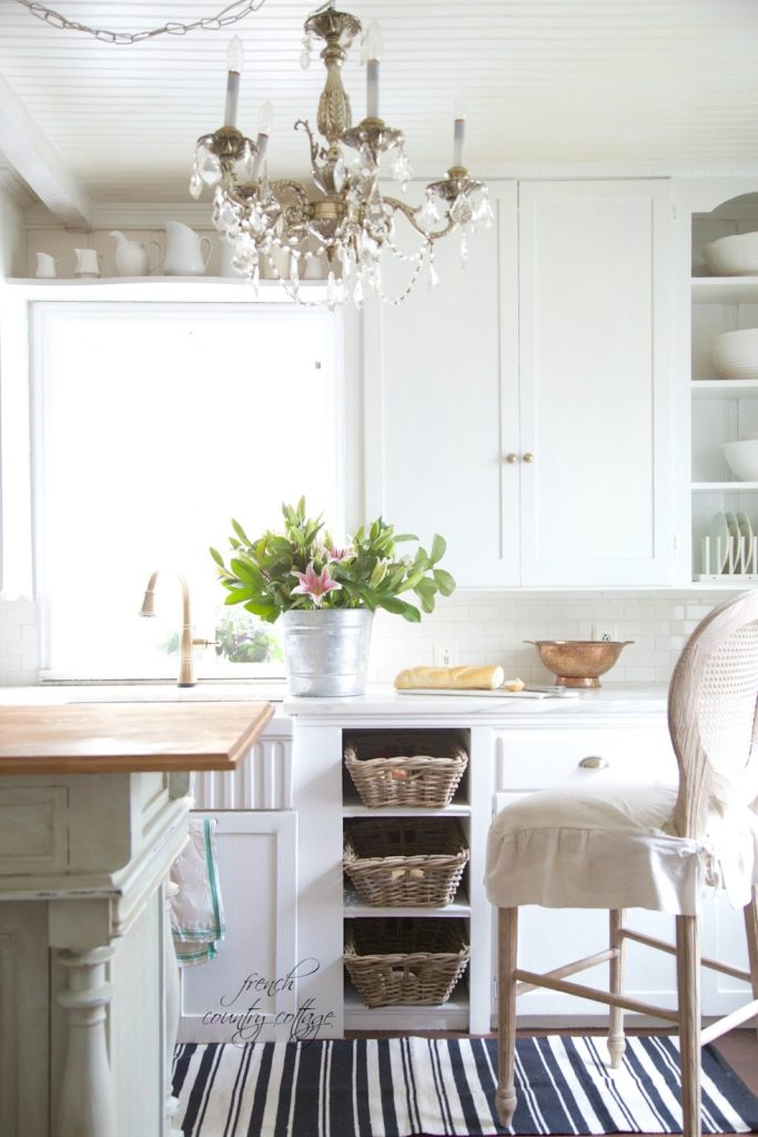 vintage french cottage kitchen black white runner