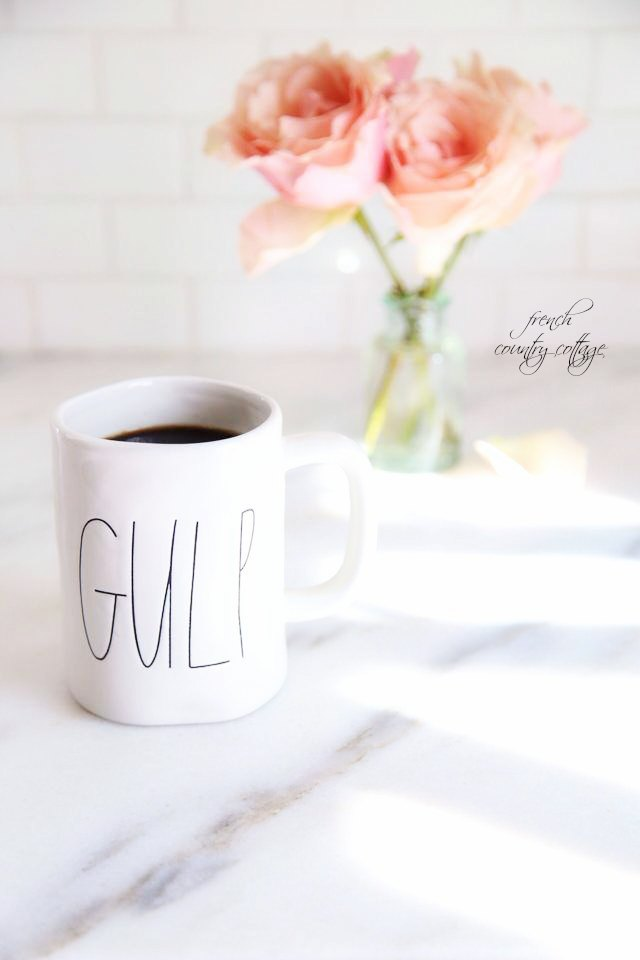coffee, gulp mug, roses, marble