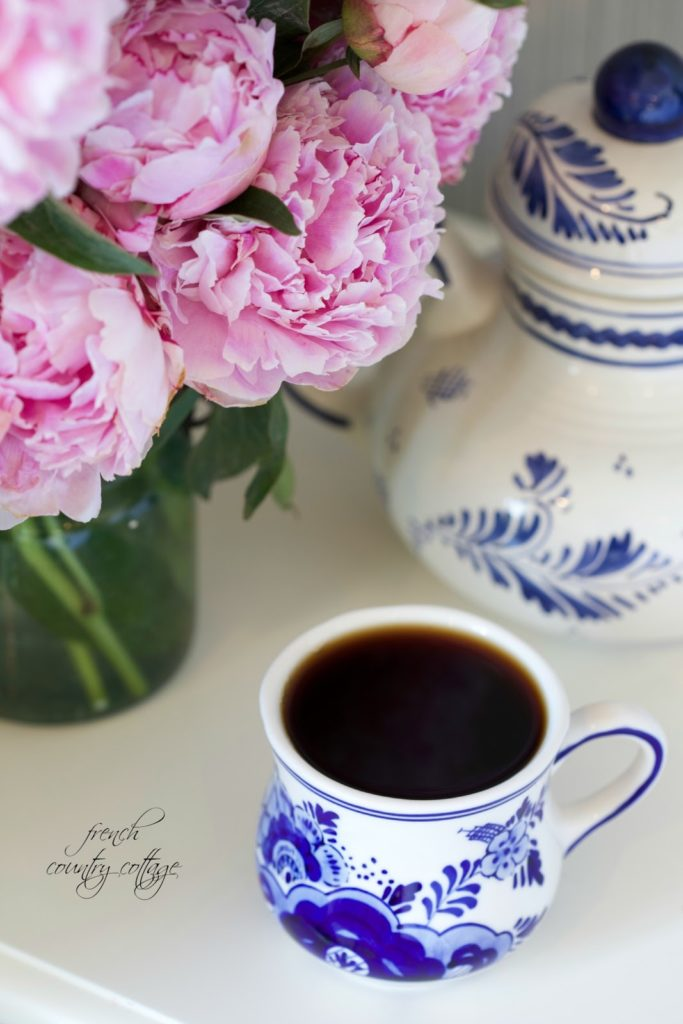 peonies, blue and white, delft