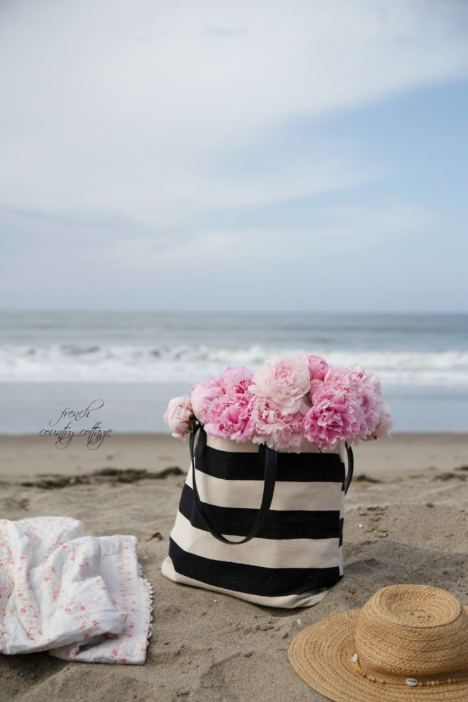 peonies beach getaway vacation black and white