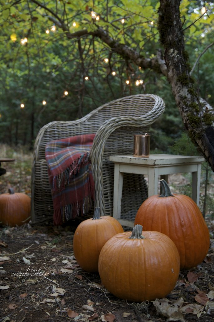 Autumn outdoor sitting area with lights and pumpkins