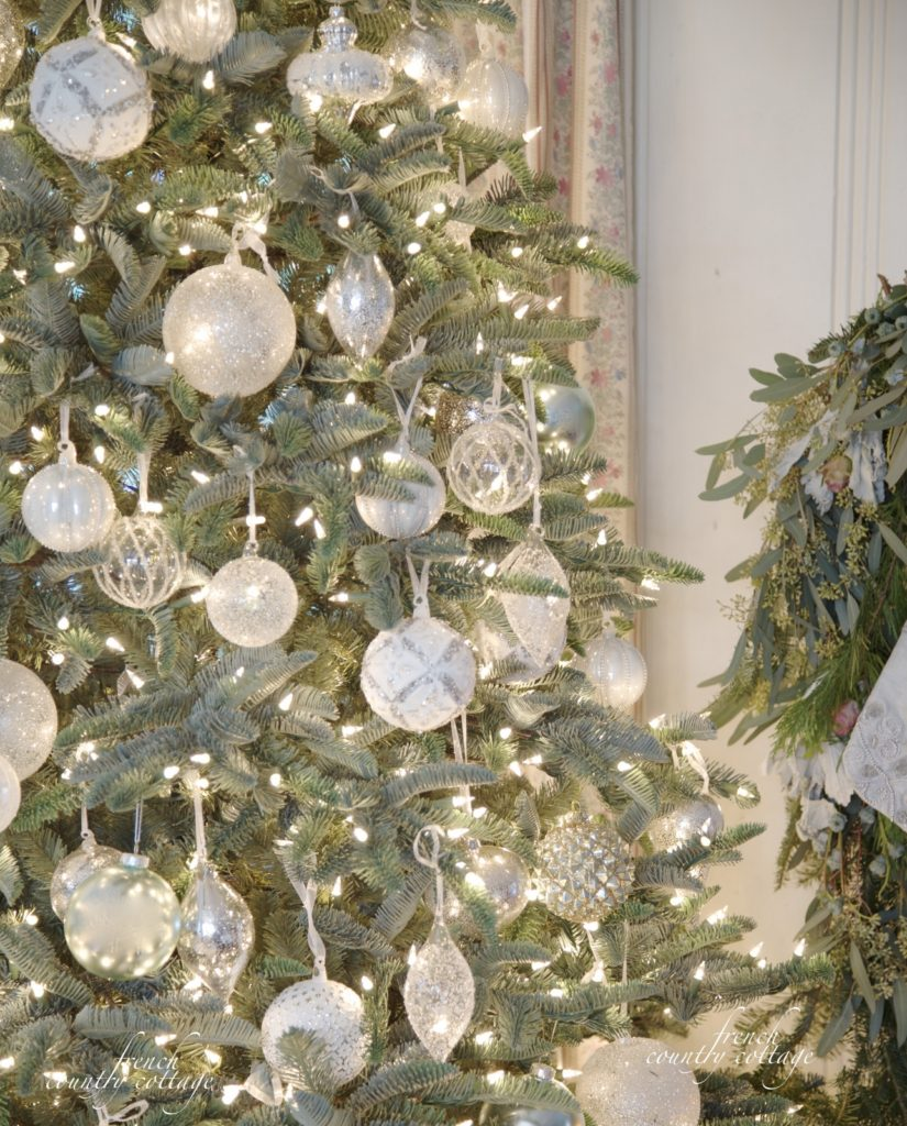Balsam Hill white & clear ornaments French Country Cottage Christmas