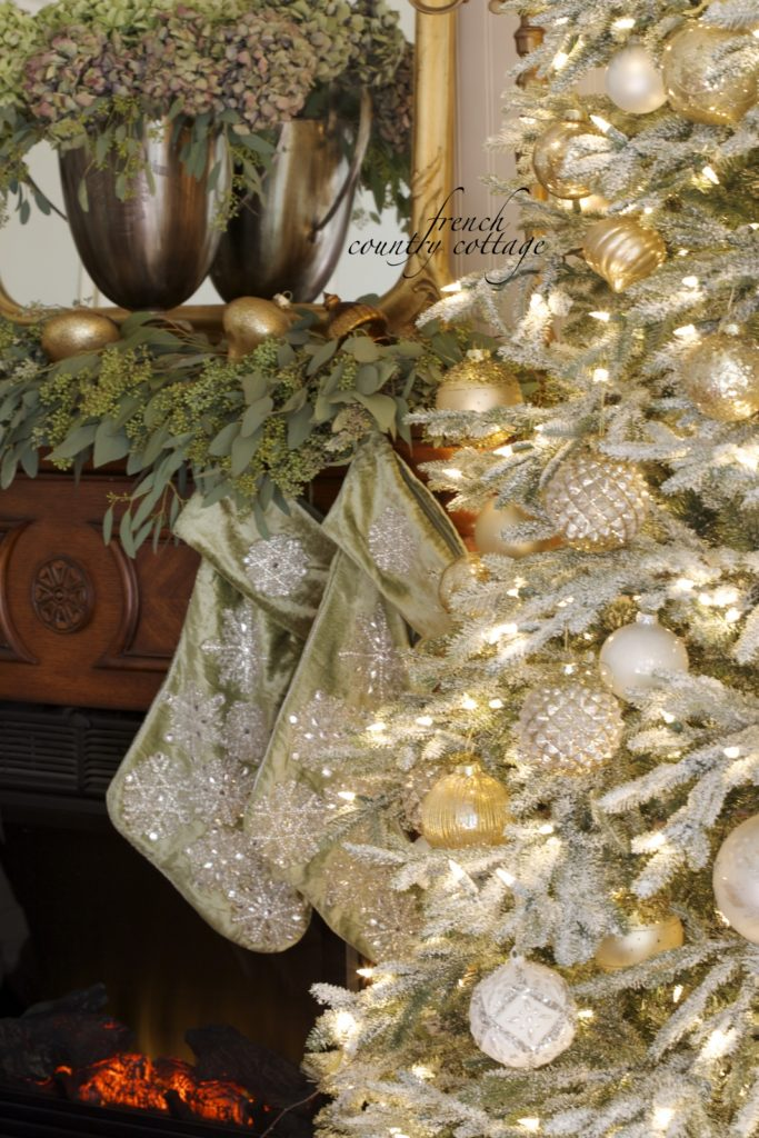 Gold ornaments and green velvet for a French Country Cottage Christmas