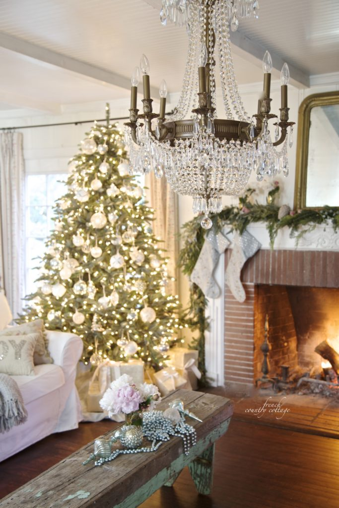 White ornaments for a French Country Cottage Christmas