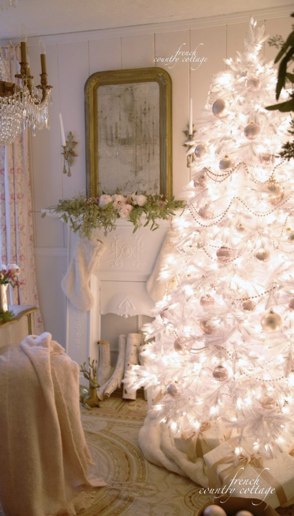 White Christmas tree with blush ornaments