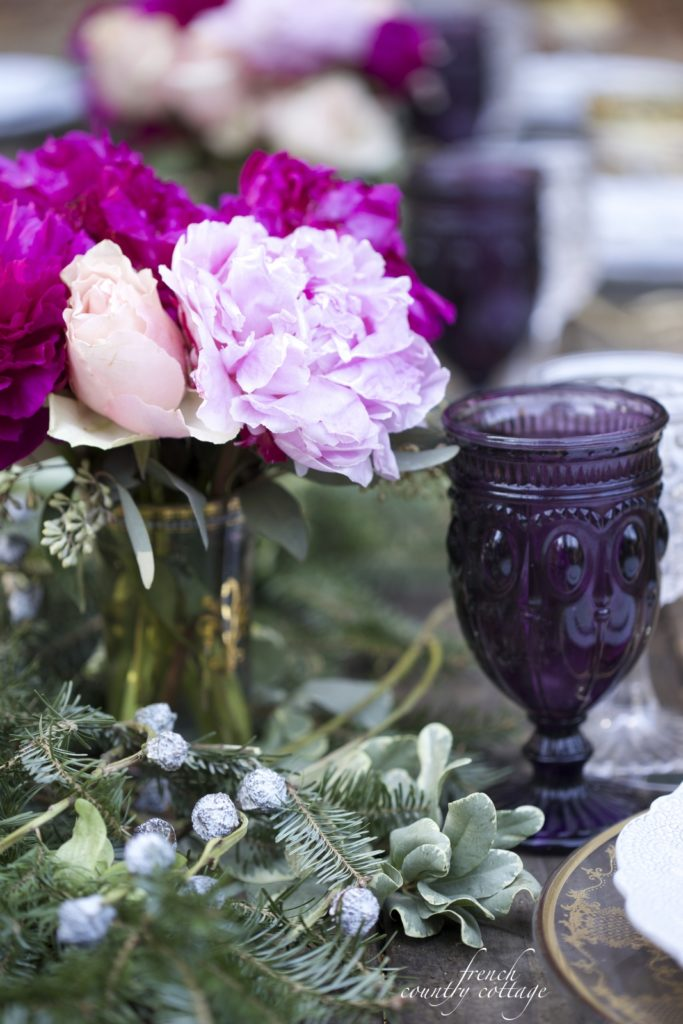 Gold, purple, peonies and Christmas table