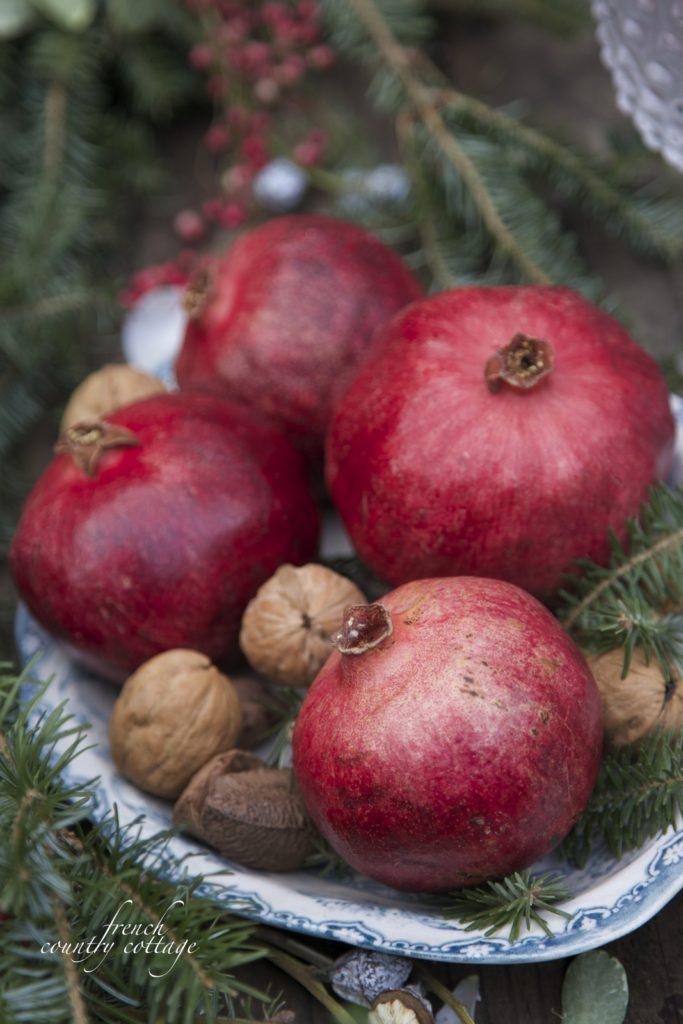 Pomegranates in antique blue transferware Christmas