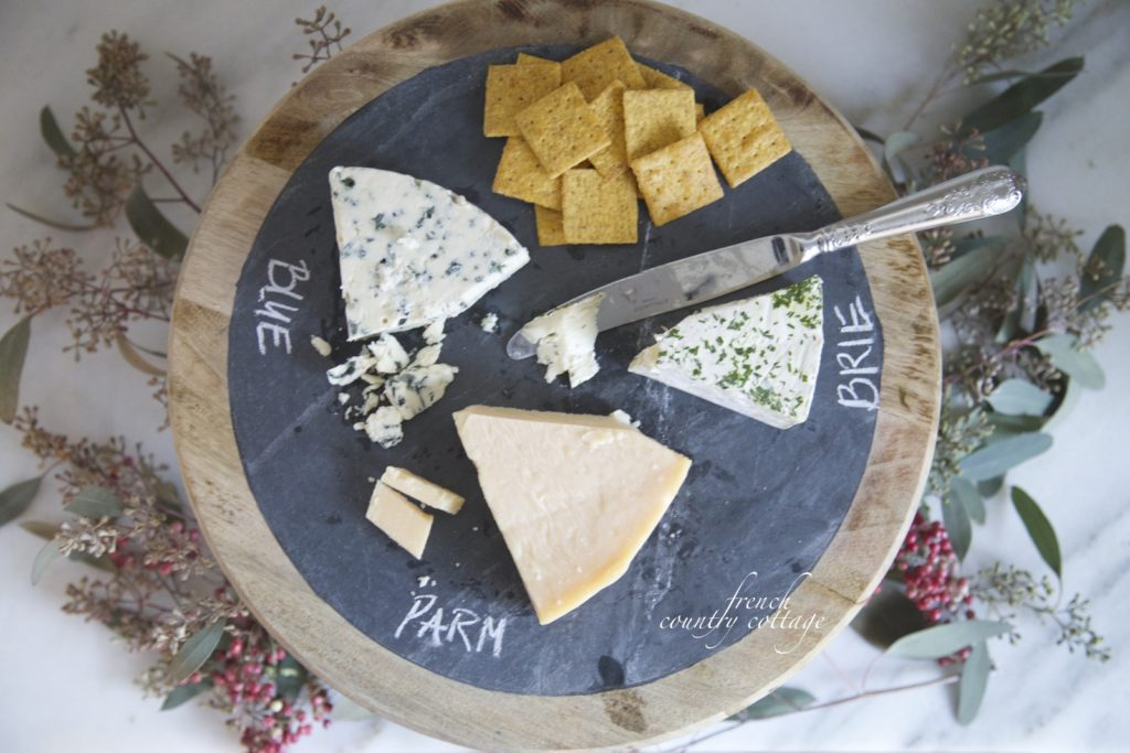 Cheese and crackers pedestal platter chalkboard