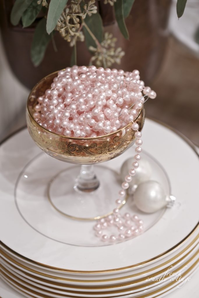 New Years Eve- pink beaded garland gold white dishes