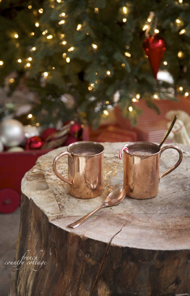 Christmas outdoor patio copper mugs tree