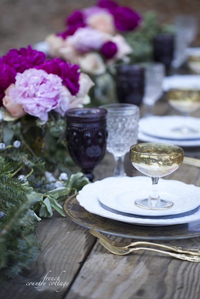 Rich, jewel toned Holiday table setting