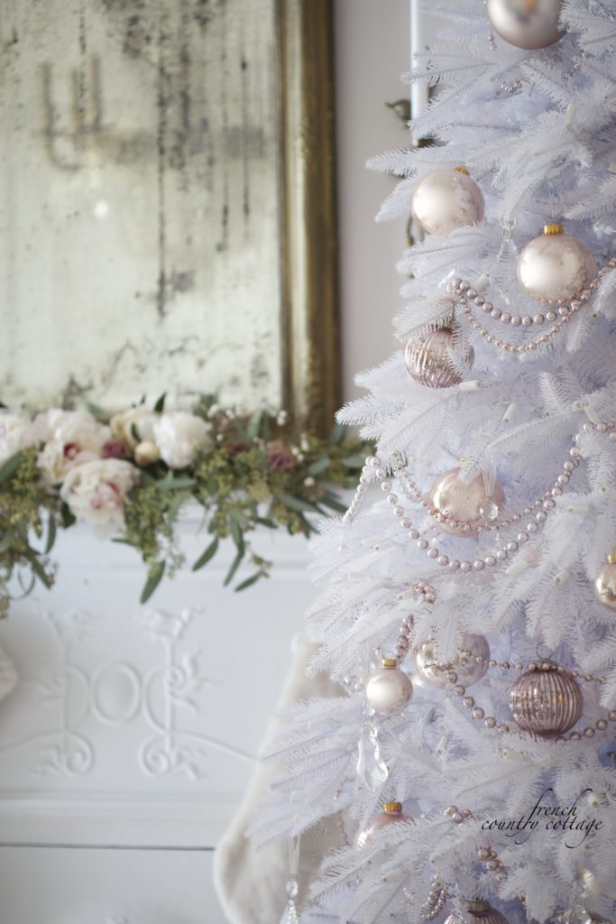 French Country Cottage Christmas Home Holiday Decorating white tree