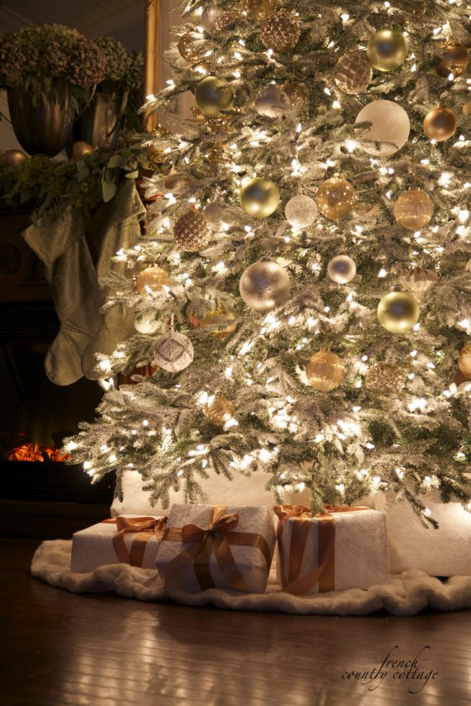 Christmas tree and fireplace glowing