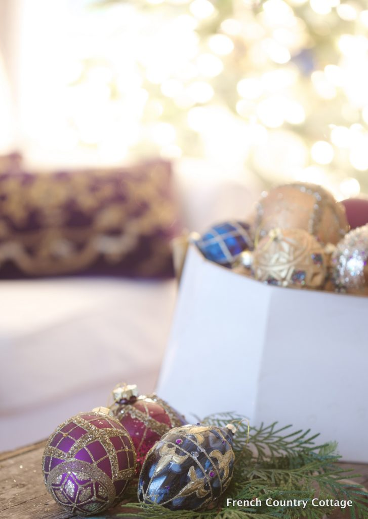 Christmas ornaments in hat box