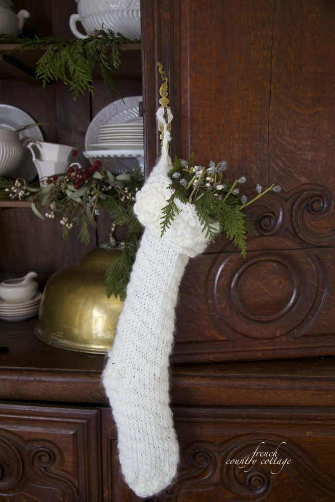 Christmas stocking on antique buffet deux corps