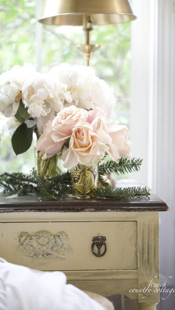 Christmas vignette with flowers