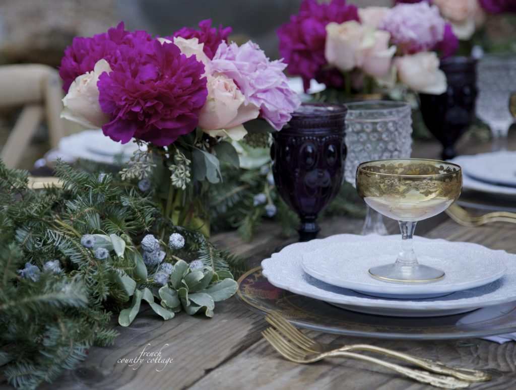 Christmas with jewel tones table setting