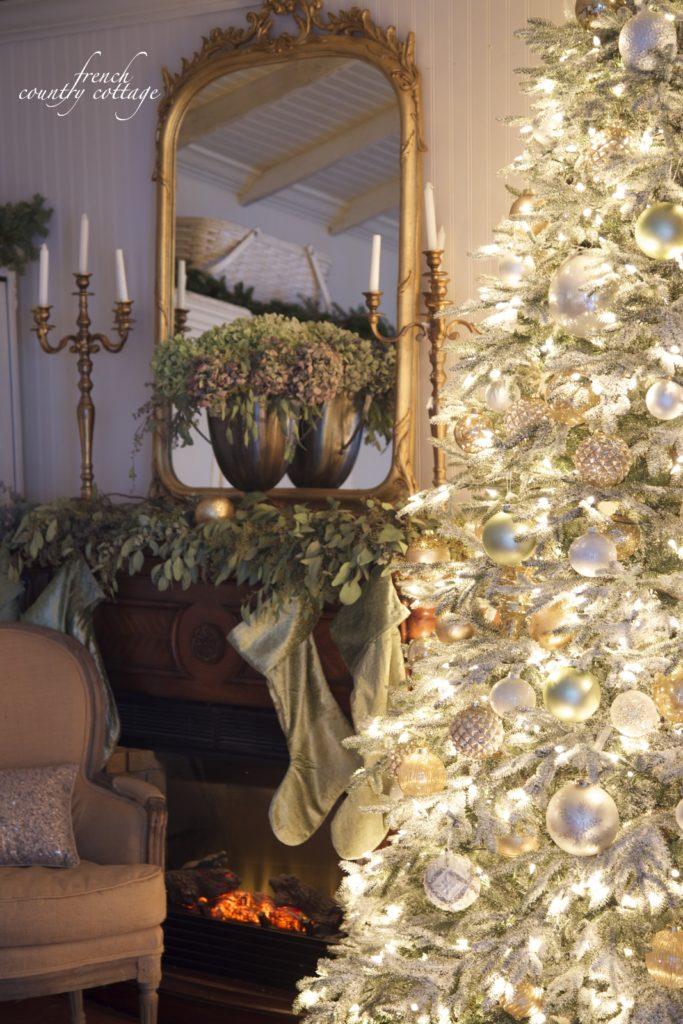 French Country Cottage Christmas Mantel Elegant, easy green velvet gold hydrangeas