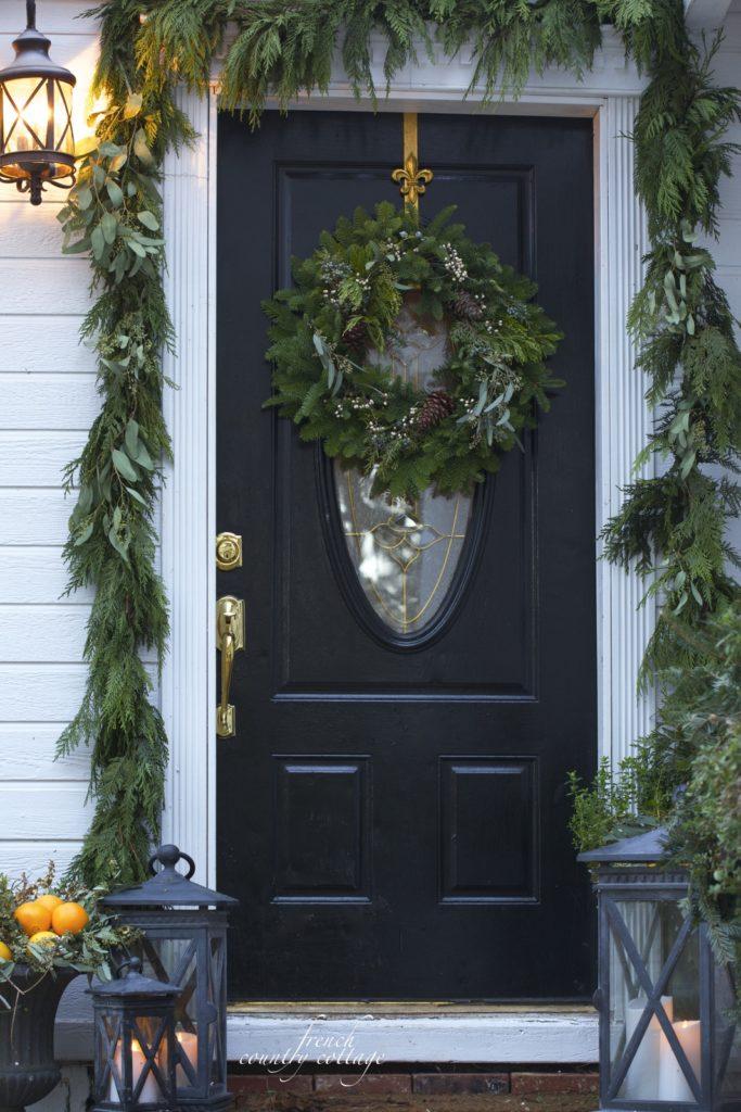 Christmas Front Door Holiday Home Oranges Lanterns Garland