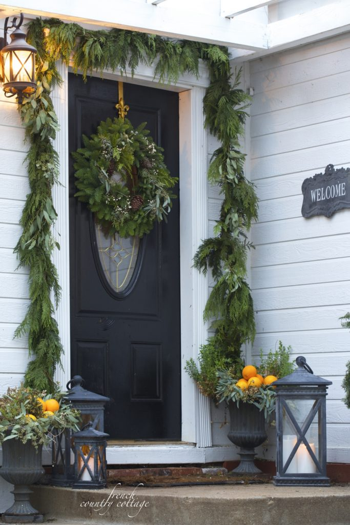 French Country Cottage Christmas Home Holiday Decorating front door decor