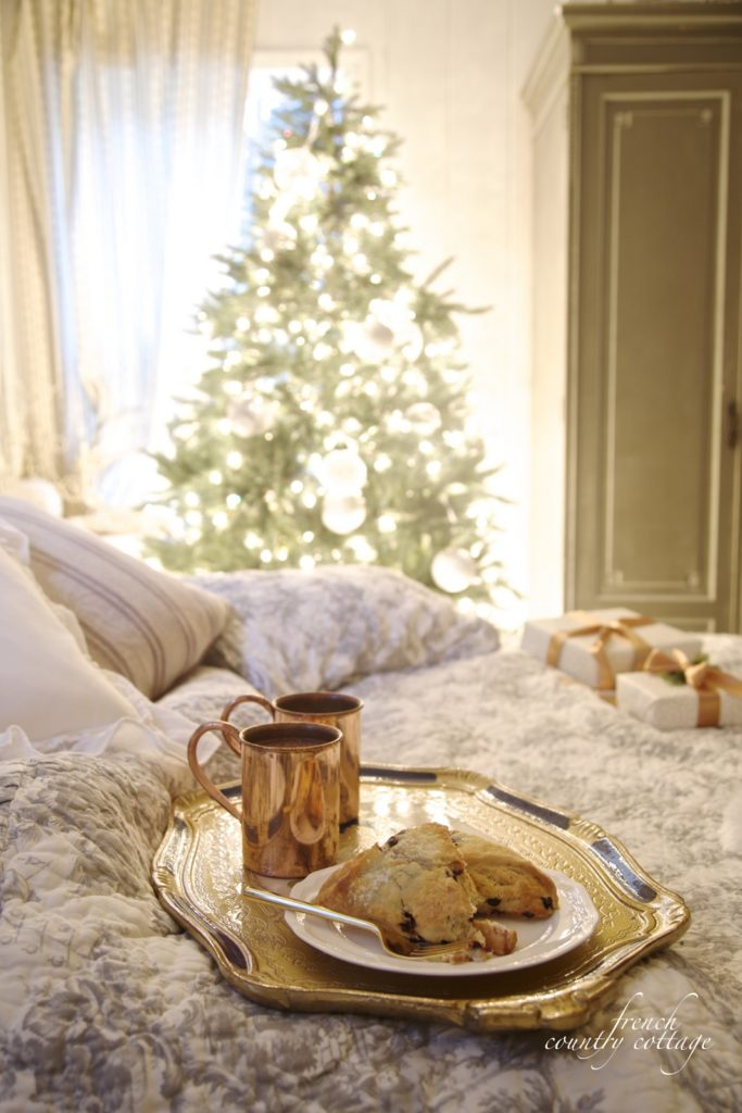 Christmas bedroom breakfast and presents in bed