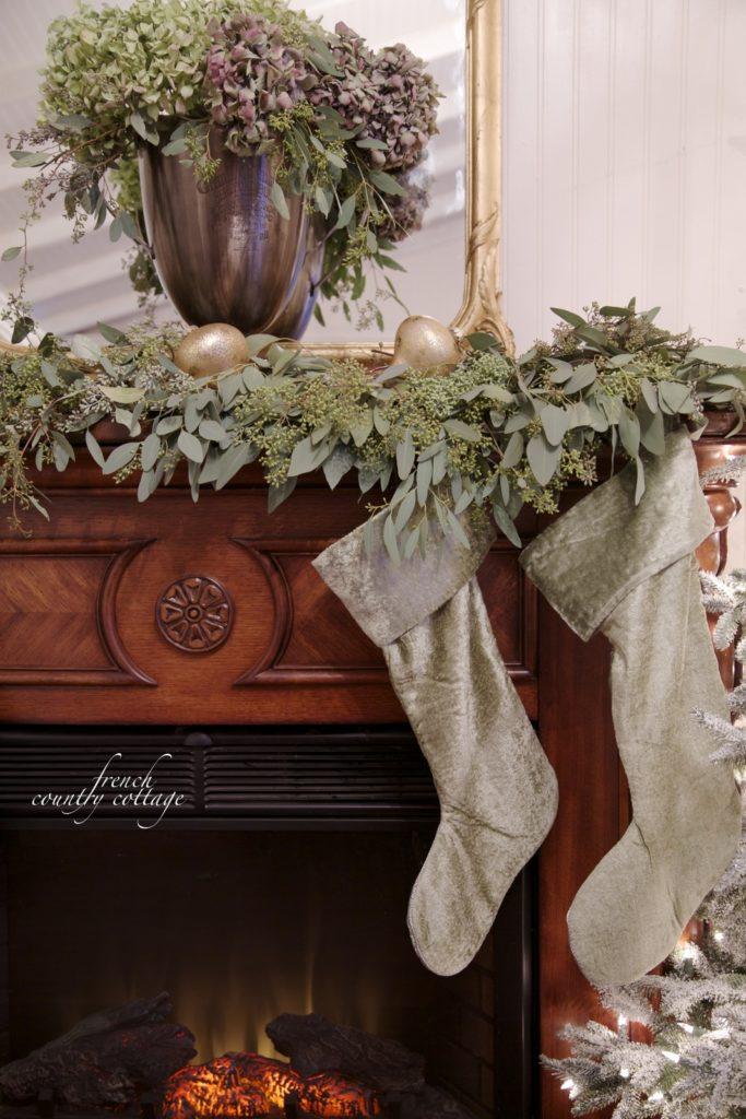 green velvet Christmas Mantel
