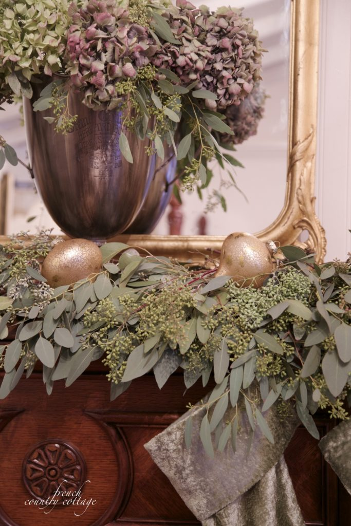Christmas Mantel with eucalyptus and hydrangeas