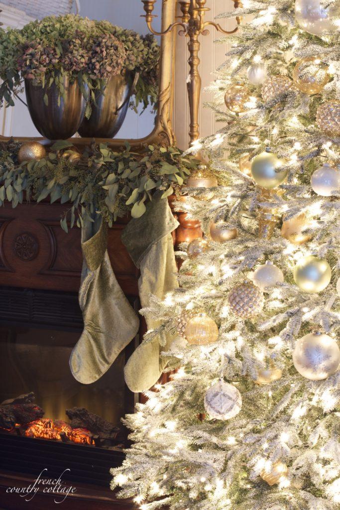 French cottage Christmas mantel- velvet, gold, eucalyptus hydrangeas