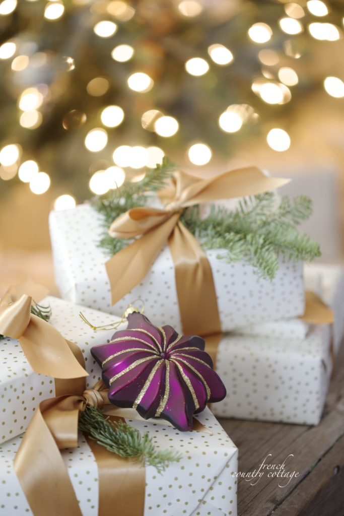 Pretty Christmas packages with ornament