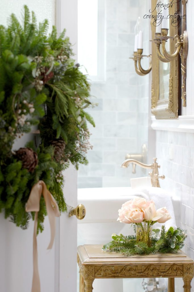 Bathroom dressed for Christmas