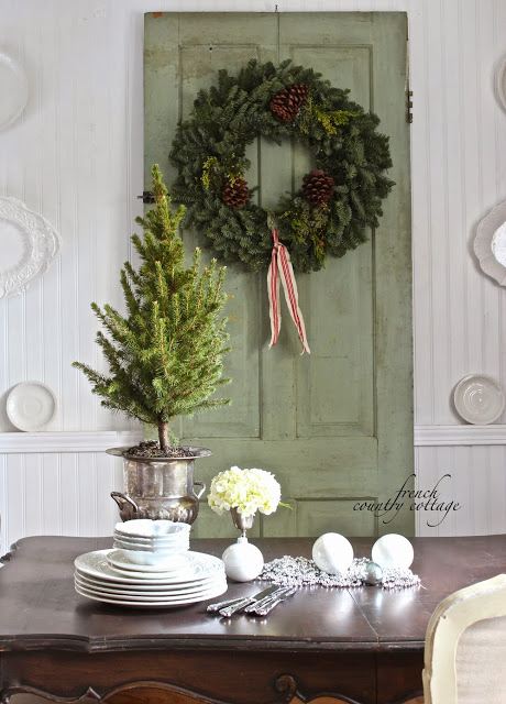 french country cottage fresh garland diy wreath Christmas