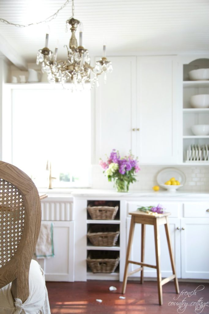 French Cottage Kitchen refresh- marble counters and subway tile