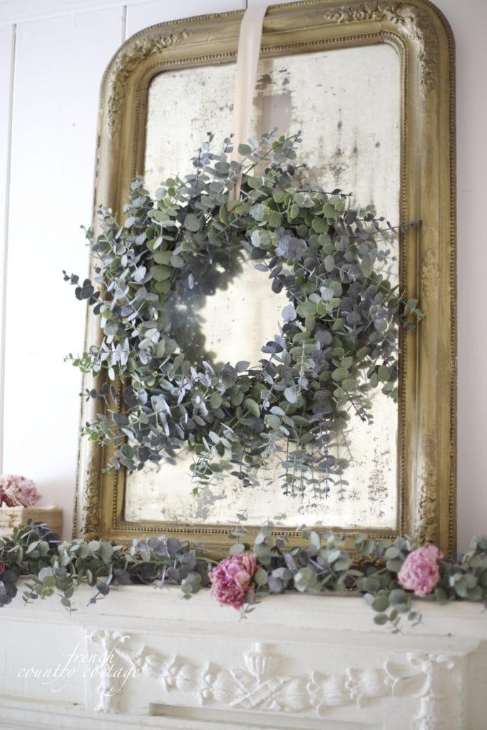 Eucalyptus wreath on mirror