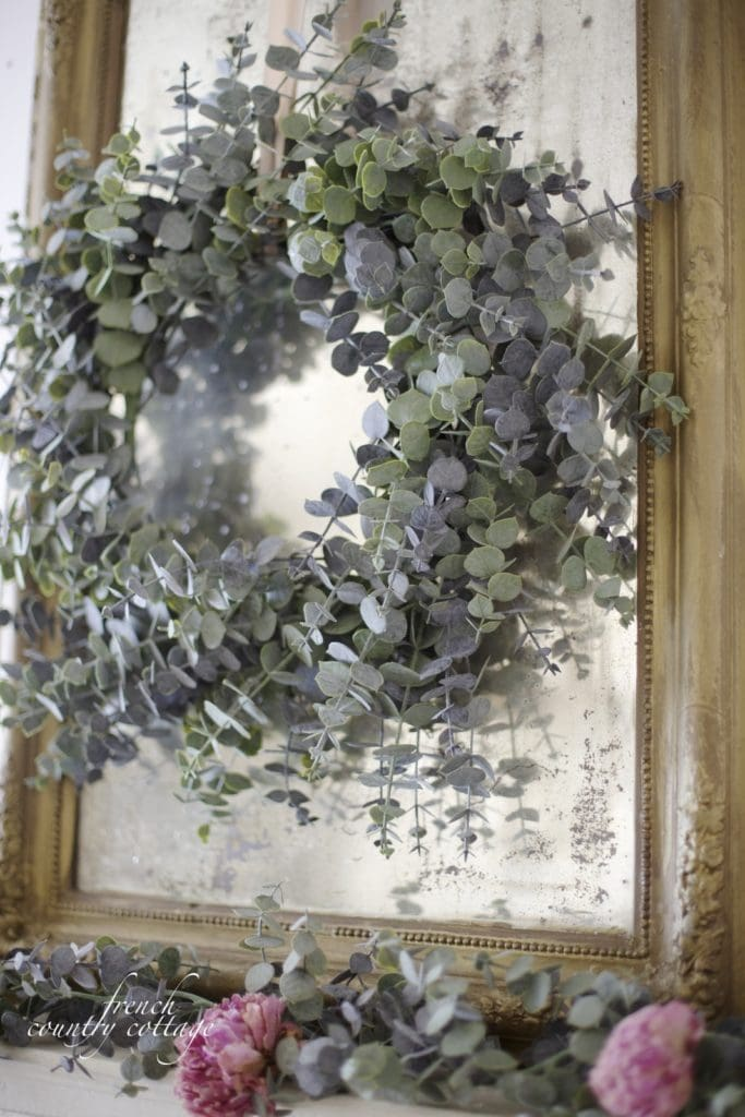 French country cottage eucalyptus mantel close up
