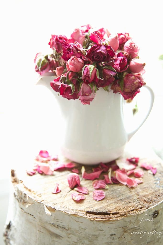 Roses in a white pitcher on birch stool