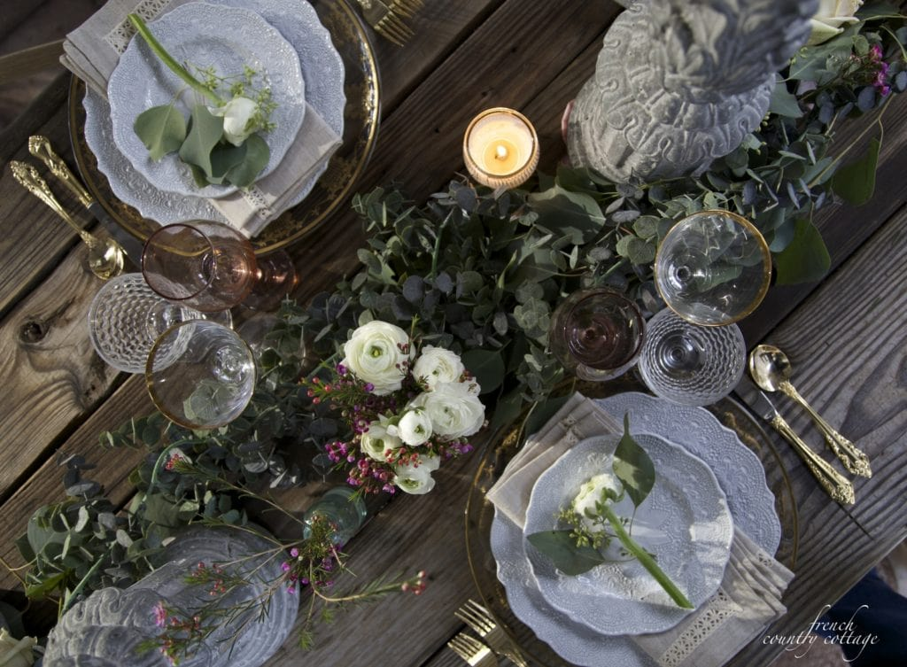 Overhead table setting photo showing place settings