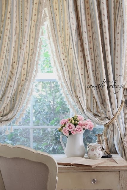 Ticking stripe flower curtain panels with fringe
