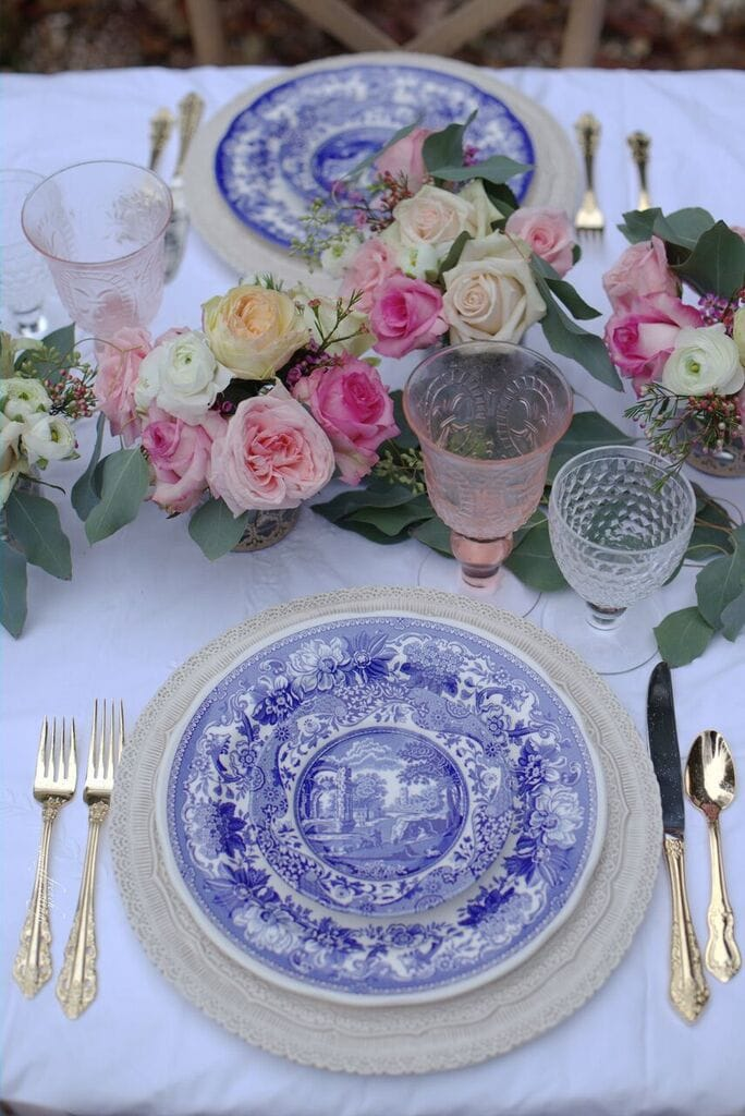 Blue and white dishes on table for romantic dinner