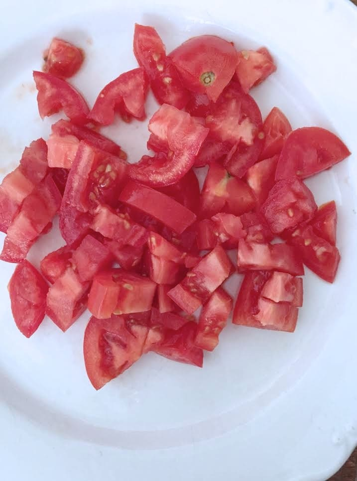 sliced and diced tomato