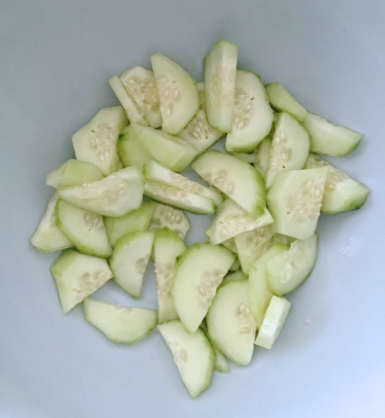 sliced fresh cucumber for salad