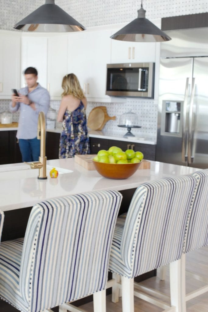 Striped chairs in kitchen