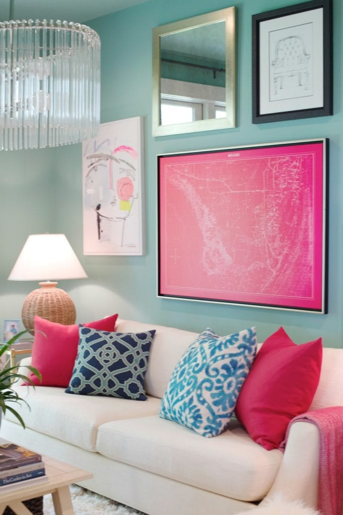 White, green and pink in sitting room