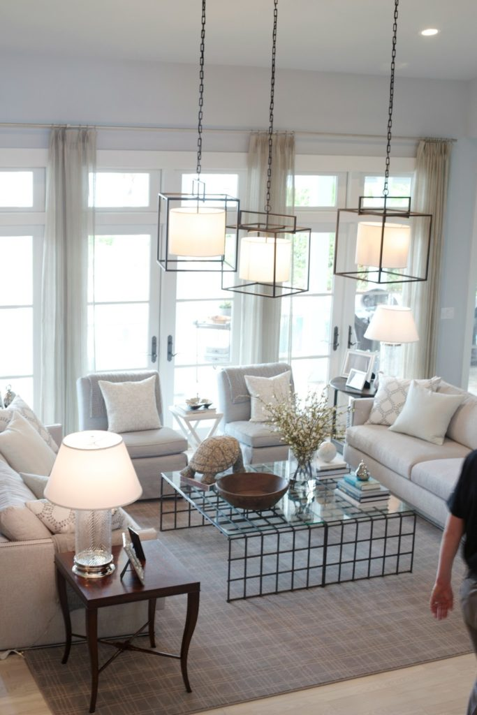 Living room with whites and neutrals