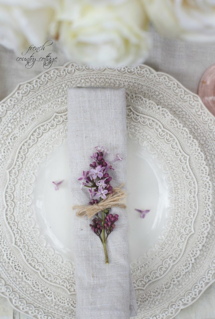 lace dishes with lilac on them