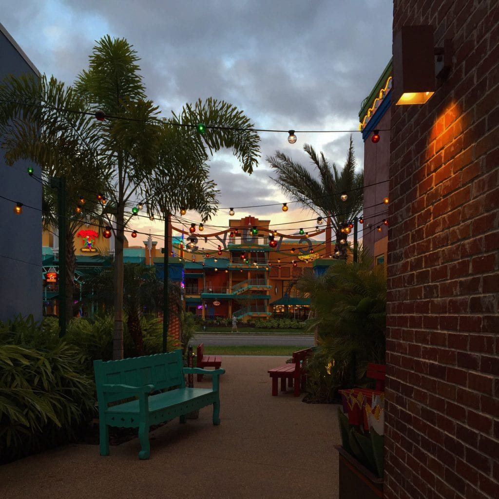 Scene from brick walkway in Florida as the sun came up
