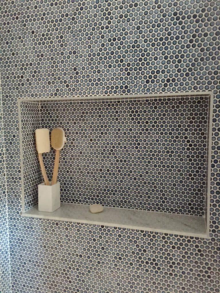 Navy Penny Tile bathroom shower