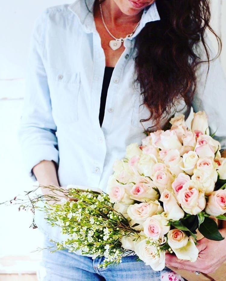 denim shorts, flowers