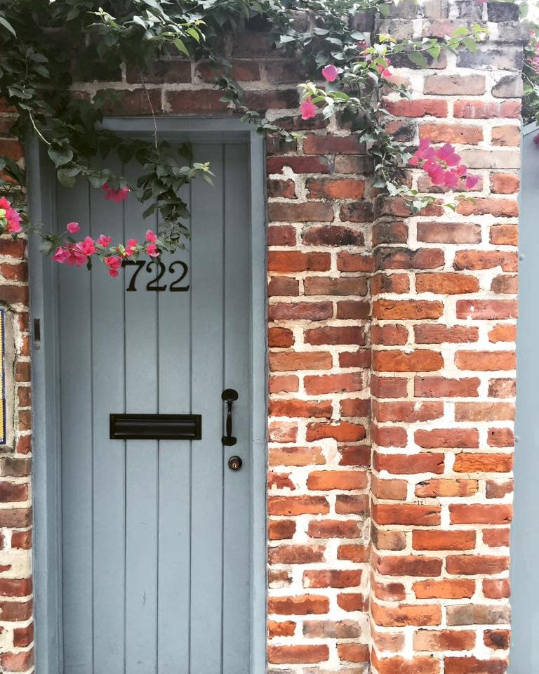 Old entry door with brick in NOLA