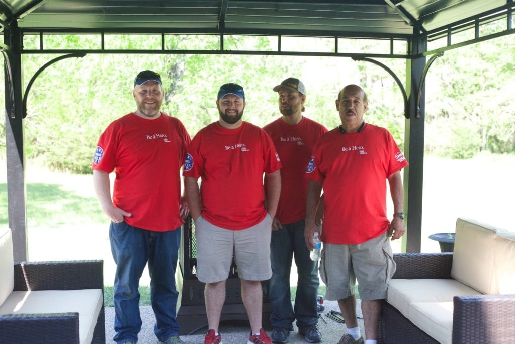 Lowe's Volunteers on patio